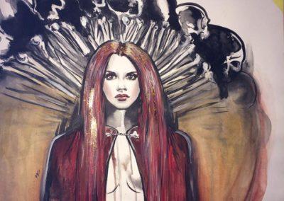 malba obraz portrét šamanky čarodějky