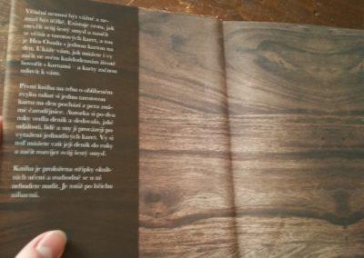 vrchní přebal knihy o tarotu s texturou dřeva