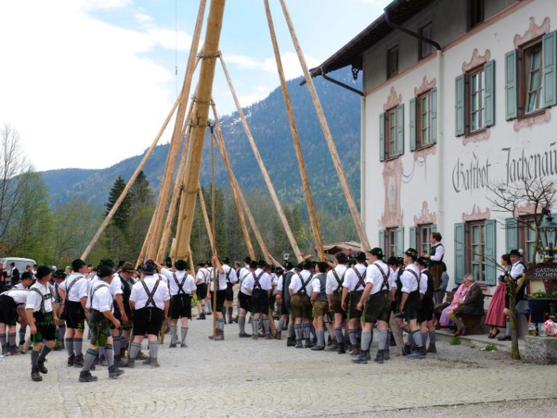 Každoroční tradiční vztyčování májky bavorskými muži